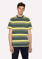 Paul Smith Men's Yellow And Slate Blue Stripe T-Shirt