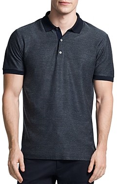 Theory Cotton Micro Grid Regular Fit Polo Shirt