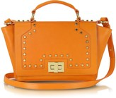 Leonardo Delfuoco Studded Orange Leather iPad Bag