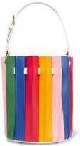 Sara Battaglia Plisse Leather Bucket Bag - Red