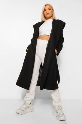 boohoo Petite Belted Hooded Wool Look Coat
