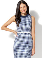 New York & Co. 7th Avenue - Funnel-Neck Peplum Top - Gingham