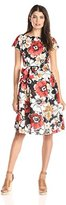 Anne Klein Women's Printed Cap-Sleeve Floral Dress