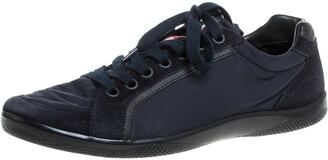 Prada Sport Navy Blue Nylon and Suede Lace Top Sneakers Size 42