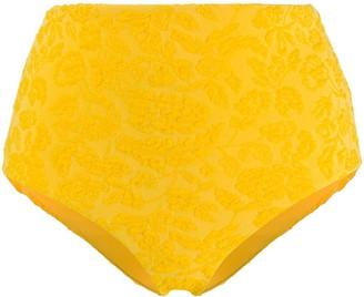 Mara Hoffman Floral Embroidered High-Waisted Bikini Bottoms