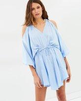 Shona Joy Calypso Open Shoulder Drawstring Mini Dress