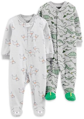 Child of Mine by Carter's Newborn Baby Boy Interlock Cotton Sleep 'N Play Footed Pajamas, 2-Pack (Preemie-9M)