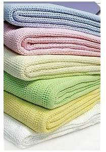 Dudu N Girlie 100 Percent Cotton Baby Cot Bed Cellular Blanket, Blue