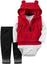 Carter's Baby Girl Fleece Vest, Bodysuit & Print Leggings Set