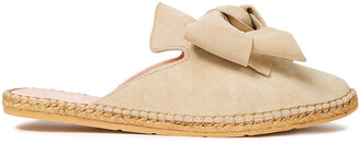 Manebi Hamptons Bow-embellished Suede Espadrille Slippers