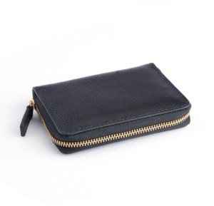Royce Leather Royce New York Pebbled Leather Zippered Credit Card Wallet