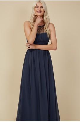 Little Mistress Grace Bridesmaid Gunmetal Embellishment Sweetheart Maxi Dress
