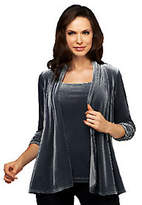As Is Susan Graver Stretch Velvet Ruched 3/4 Sleeve Cardigan & Tank