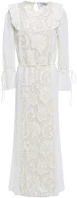 Antik Batik Melly Paneled Guipure Lace And Cotton-gauze Maxi Dress
