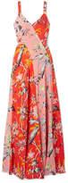Diane von Furstenberg Paneled Floral-print Silk Crepe De Chine Maxi Dress - Red