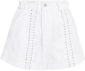 IRO Sabrina Lace-up Linen And Cotton-blend Shorts