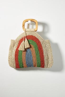 Anthropologie Rainbow Jute Tote Bag By in Green