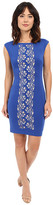 Sangria Center Laser Cut Detail Scuba Sheath Dress