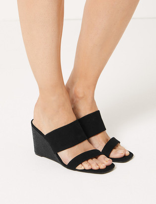 Marks and Spencer Suede Wedge Two Band Sandals
