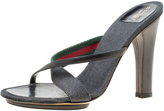 Gucci Black Fabric And Leather Cross Strap Sandals Size 36