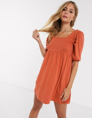 ASOS DESIGN square neck puff sleeve smock dress in rust