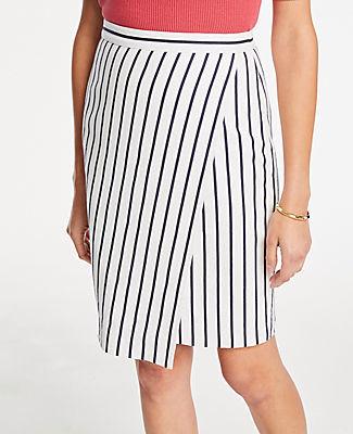Ann Taylor Striped Wrap Pencil Skirt