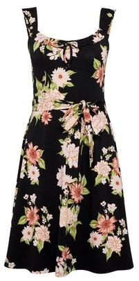 Dorothy Perkins Womens Black Floral Print Strappy Ruffle Fit And Flare Dress, Black