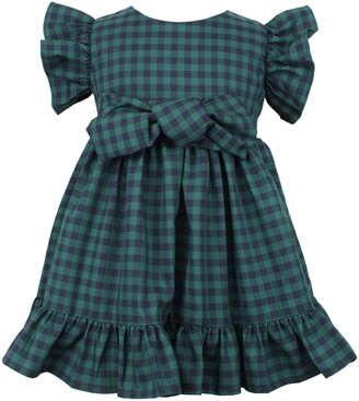 Popatu Check Flutter Sleeve Cotton Dress