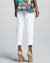 Etro Cropped Ankle Pants, White