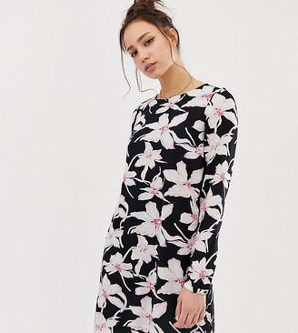 Vero Moda Tall long sleeve floral shift dress in black-Multi