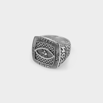 Tom Wood Champion Crystal Eye Ring In Silver And Crystal