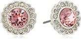 Vera Bradley Pave Silver Tone with Pink Stud Earrings