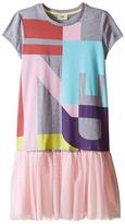 Fendi Logo T-Shirt Dress with Tulle Detail Girl's Dress