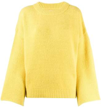 Fine Edge fluted sleeve fine knit jumper