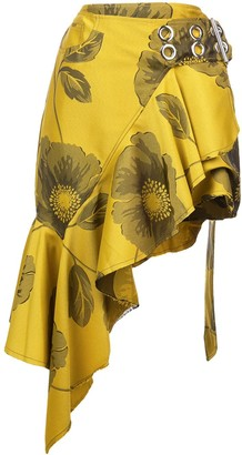 Marques Almeida Belted Floral Ruffle Skirt