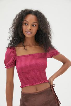 Urban Outfitters Sabrina Satin Smocked Top
