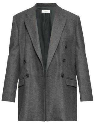 Etoile Isabel Marant Eagen Checked Double-breasted Blazer - Womens - Dark Grey