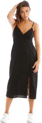 Milk and Honey Button Detail V-Neck Linen Blend Midi Dress