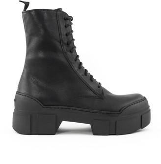 Vic Matié Black Leather Ankle Lace-up Boots