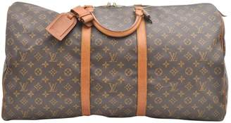 Louis Vuitton Vintage Keepall Brown Cloth Travel Bag