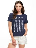 Old Navy EveryWear Graphic Curved-Hem Tee for Women