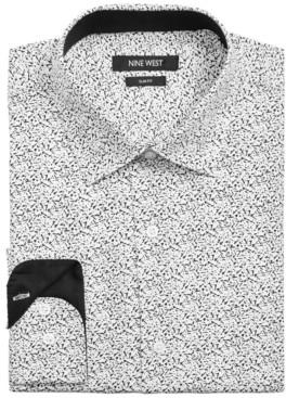 Nine West Men's Slim-Fit Performance Stretch Paint Splatter-Print Dress Shirt