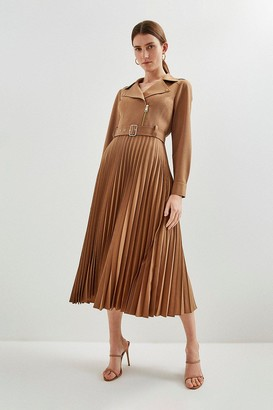 Karen Millen Polished Stretch Wool Blend Biker Pleat Dress