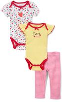 Cutie Pie Baby Pink & Yellow Strawberry Bodysuit Set - Infant