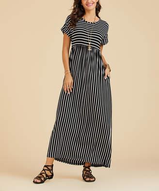 Suzanne Betro Dresses Women's Maxi Dresses 102black - Black Stripe Pocket Empire-Waist Maxi Dress - Women