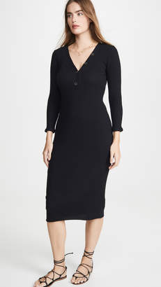 Enza Costa Poorboy Rib Henley Midi Dress