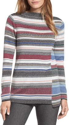 Nic+Zoe Banded Cotton Blend Offset Stripe Sweater