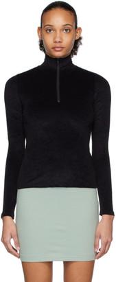 John Elliott Black Velvet Half-Zip Sweater