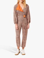 French Connection Chinwe Mix Print Jumpsuit, Jaffa Orange Multi
