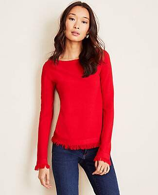 Ann Taylor Seasonless Yarn Fringe Boatneck Sweater